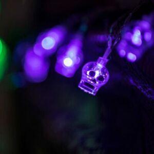 LED Violet Skulls Lights 1.3m- Great for Halloween Parties!