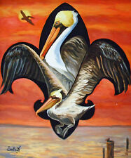 Fleur de Lis New Pelican Orleans Baltas Matted Art Print Louisiana