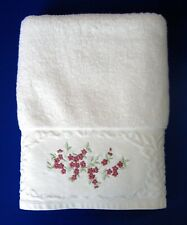 Bath Towel White w/Pink Embroidered Flowers by Sophia Made in Turkey Vintage GUC