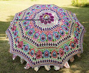 """Garden Parasol Vintage Embroidered Indian Outdoor Sun Shade Patio Umbrella 72"""""""