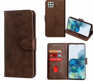 Galaxy A22 5G Wallet Case Cowhide Finish Pu Leather Magnet Card Slots