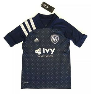 Adidas Youth Sporting Kansas City MLS Soccer Jersey Navy Blue Youth Size M