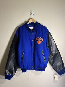 Vintage NY New York Knicks G-III Carl Banks Leather sleeve Jacket Men's size L