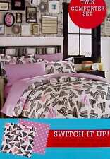 PUNKY SWEETHEART GRAPHIC HEARTS BLACK PINK TWIN COMFORTER SHAM BEDDING SET NEW