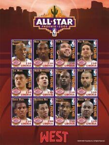 Liberia - NBA 2009 ALL STARS - KOBE BRYANT - Sheet of 12 Stamps - MNH