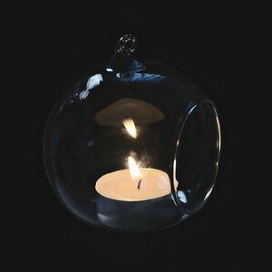 Clear Hanging Glass Bauble Ball Tealight Candle Holder Wedding Garden&Home Decor