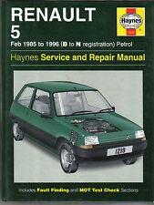 RENAULT 5 Feb 1985-1996 B-N REG. i modelli benzina Haynes assistenza / riparazione manuale