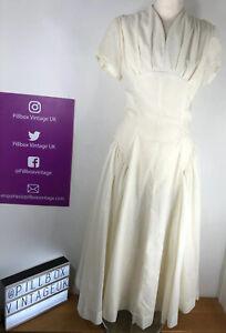 1950s True Vintage Handmade Uk Size 10-12 Cream Spot Wedding Dress Size