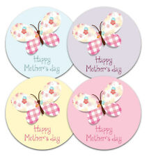 Mothers day stickers - Butterfly design - 30mm or 60mm dia - 4 pastel colours