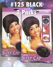 M & M QFITT DRAWSTRING LARGE SATIN SLEEP CAP #125 BLACK SELECT QTY OF 1, 2, OR 3