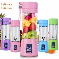 380ml 2/6 Blades USB Portable Electric Fruit Juicer Smoothie Maker Blender Cup