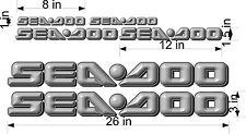 "SEA-DOO 3D Logo / GRAY / 26"" Vinyl Vehicle Watercraft Replacement Decal Bonus Pk"