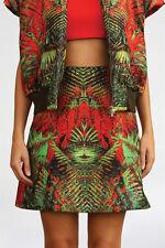 BNWOT JOSH GOOT 'digital forest a-line skirt' silk red green print XS 6 RRP $495