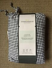 Twin Xl 3pc Sheet Set, Threshold black & white checked 100% Cotton NEW!!!