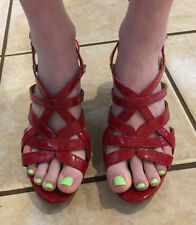 Well Worn Naturalizer Heels - Red Leather Strappy Sandals - Women's 8