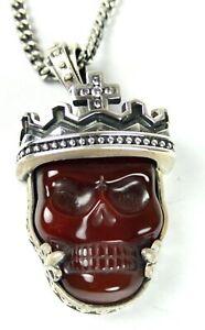 King Baby Studio *SHOWROOM SALE** w/ Carved Crowned Red Agate Skull K10-5467-AGR