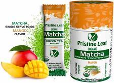 Organic Matcha Green Tea Powder | Mango Flavored | No Sugar | 12 Single Servings