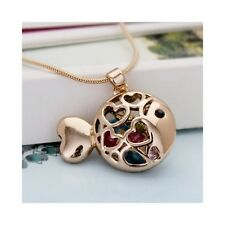 Women RoseGold Plated Fashion Trendy CRYSTAL Fish Pendant Necklace