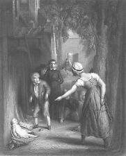Boy Ignores Crying BABY BROTHER MOTHER SCOLDS HIM ~ Old 1868 Art Print Engraving
