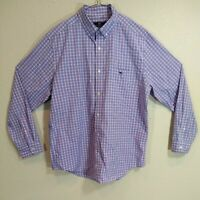 Vineyard Vines Classic Fit Tucker Shirt Men's Large Whale Logo Blue/Pink Check
