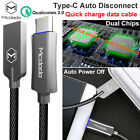 LED Auto Disconnect USB-C Type-C 3.0 Quick Charger Fast Charging Data Sync Cable