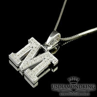 10K WHITE GOLD .10CT GENUINE REAL DIAMOND M INITIAL LETTER & BOX CHAIN NECKLACE