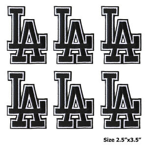 """6 pieces """"LA"""" Los Angeles Dodgers Black Embroidered Iron On Patch."""