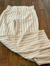 Alleson Mens Medium Relaxed Fit Open Bottom Black Pinstripe Baseball Pants Euc