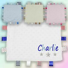 Name & Stars Embroidered Baby Dimple Taggy Gift Blanket Personalised Unisex