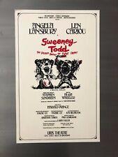 SWEENEY TODD 1979 ORIGINAL Broadway Window Card Poster; Sondheim, Lansbury
