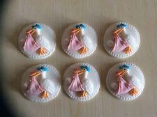 6 Edible sugar paste cupcake stork christening /baby shower pink