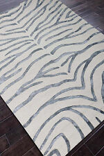 Rug USA Zebra 5' x 8' White Gray Handmade Tufted Woolen Area Rug & Carpet