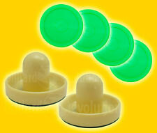 "2 Air Hockey Pushers-Cream/Green Felt & 4 Round 2-1/2"" Green Pucks-Table Hockey"