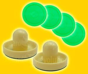 "2 Air Hockey Pushers-Cream/Green Felt & 4 Round 2-1/2"" Green Pucks-Table Hockey"