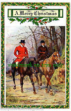 Antique Christmas Art~Couple Ride Horses in Park~Sidesaddle~ NEW Lge Note Cards