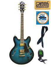 Oscar Schmidt Delta King Semi Hollow BlueBurst Guitar Bundle, OE30FBLB