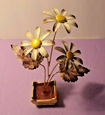 Vintage Enamel metal Flowers Sculpture Art in wax base as shown
