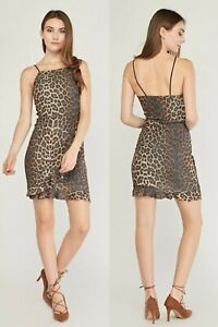 Ladies Leopard Print Brown Shimmery Wrap FrillHem BodyconDress.Size 6-8-10-12-14