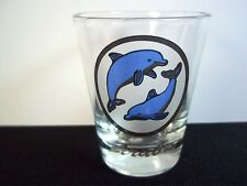 Aruba souvenir shot glass blue & gold dolphins in gold oval