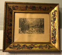 Antique Vintage Currier & Ives Skating Scene Moonlight Print Gilded Wood Frame