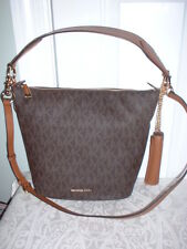 NWT Michale Kors Elana Signature Medium Convertible Shoulder Handbag Brown