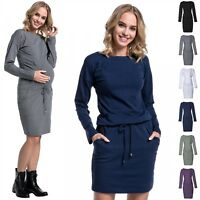 Happy Mama. Women's Maternity Nursing Sweatshirt Dress Long Sleeve Pockets. 709p