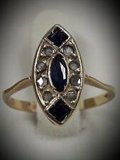 Anello antico in oro con diamanti e zaffiri naturali