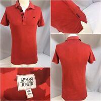 Armani Junior Polo Shirt Small Men Red 100% Cotton EUC YGI 6283