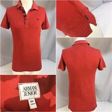 Armani Junior Polo Shirt Small Men Red 100% Cotton EUC YGI 6283