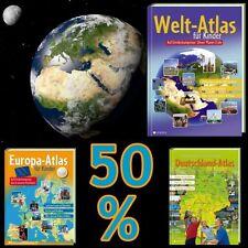 15 Jahre eSALE; Hammerpaket: 3er Set Deutschland- /Europa-/Welt-Atlas für Kinder