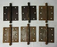 "6 Antique Vintage Cannon Ball Pin Door Hinges 3.5"" x 3.5"" Reclaimed Salvage"