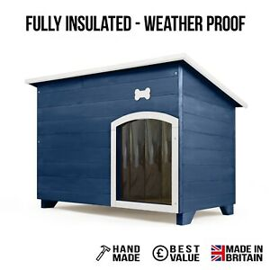 Outdoor Dog Kennel / House Winter Weather Proof Insulated XL Iris + Bone