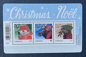 Canadian Stamps, Scott #2879 Sheet of 3 Christmas: Animals 2015 XF/S M/NH