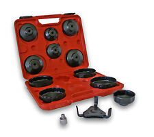 """13 Piece Oil Filter Cap Wrench Set with 3-Jaw Remover and 1/2"""" to 3/8"""" Reducer"""